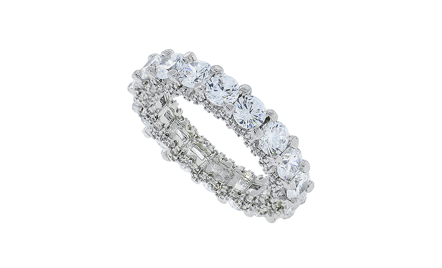 NYC Sterling Womens 4mm Round Pave Cubic Zirconia Eternity Wedding Band Sizes 5-9 R1510596