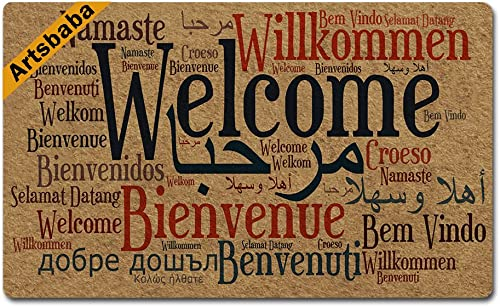 Artsbaba Doormat Welcome in Many Language Door Mat Rubber Non-Slip Entrance Rug Floor Door Mat Funny Home Decor Indoor Mats 30 x 18 Inches