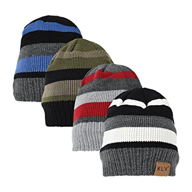 f36720e4b3d Little Hand Snow Ski Hat Striped Design Thermal Knit Fleece Lined Thinsulate  Winter Wooly Beanie Hat White Unisex  Amazon.co.uk  Clothing