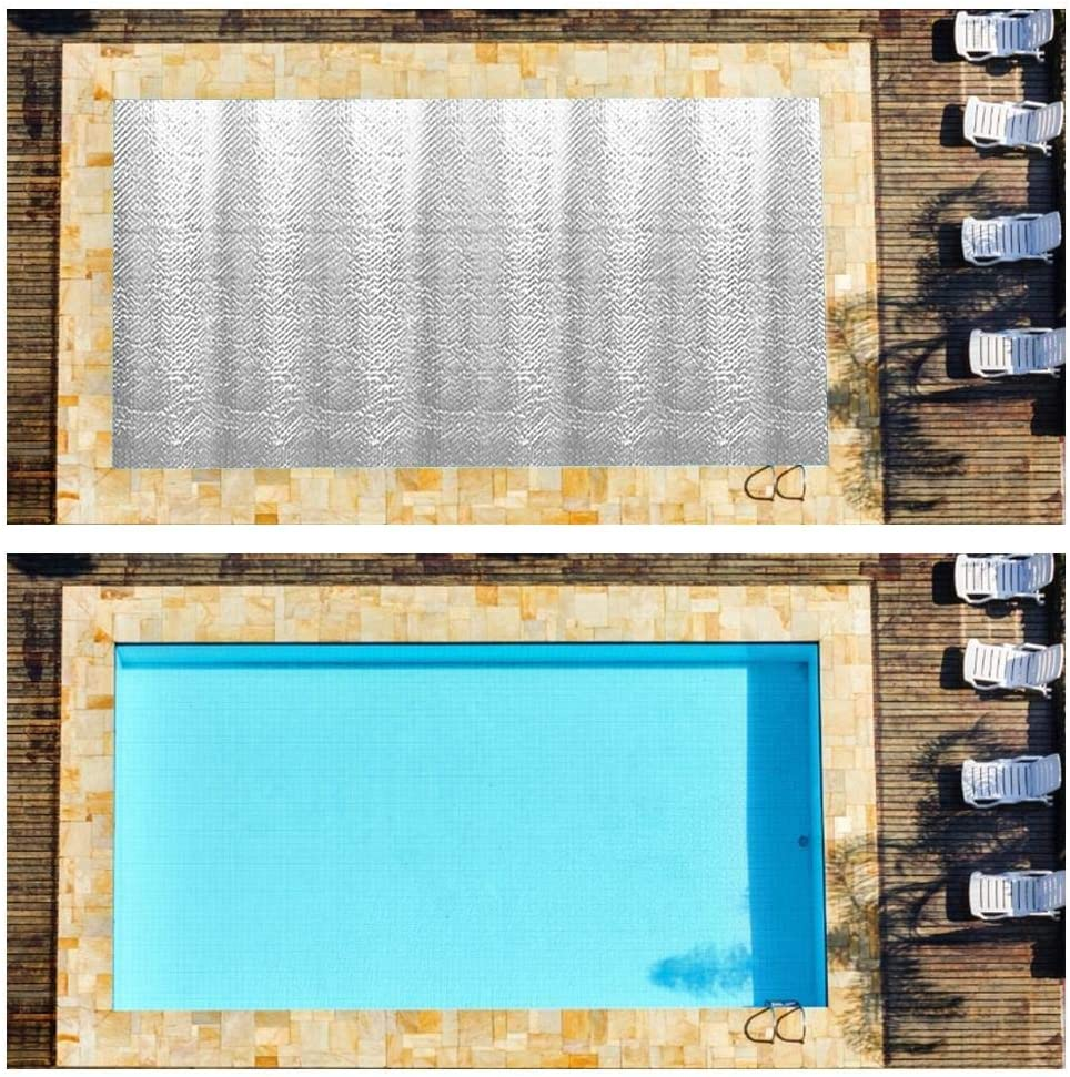 Place Bubble-Side Facing Down 5.24x10.5ft Heating Blanket for In-Ground and Above-Ground Oval Swimming Pools Pool/Mate Use Sun to Heat Pool Water Silver Oval Solar Cover