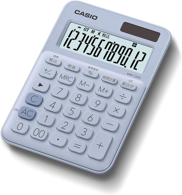 カシオ CASIO 電卓 12桁 ペールブルー ミニジャストタイプ MW-C20C-LB-N