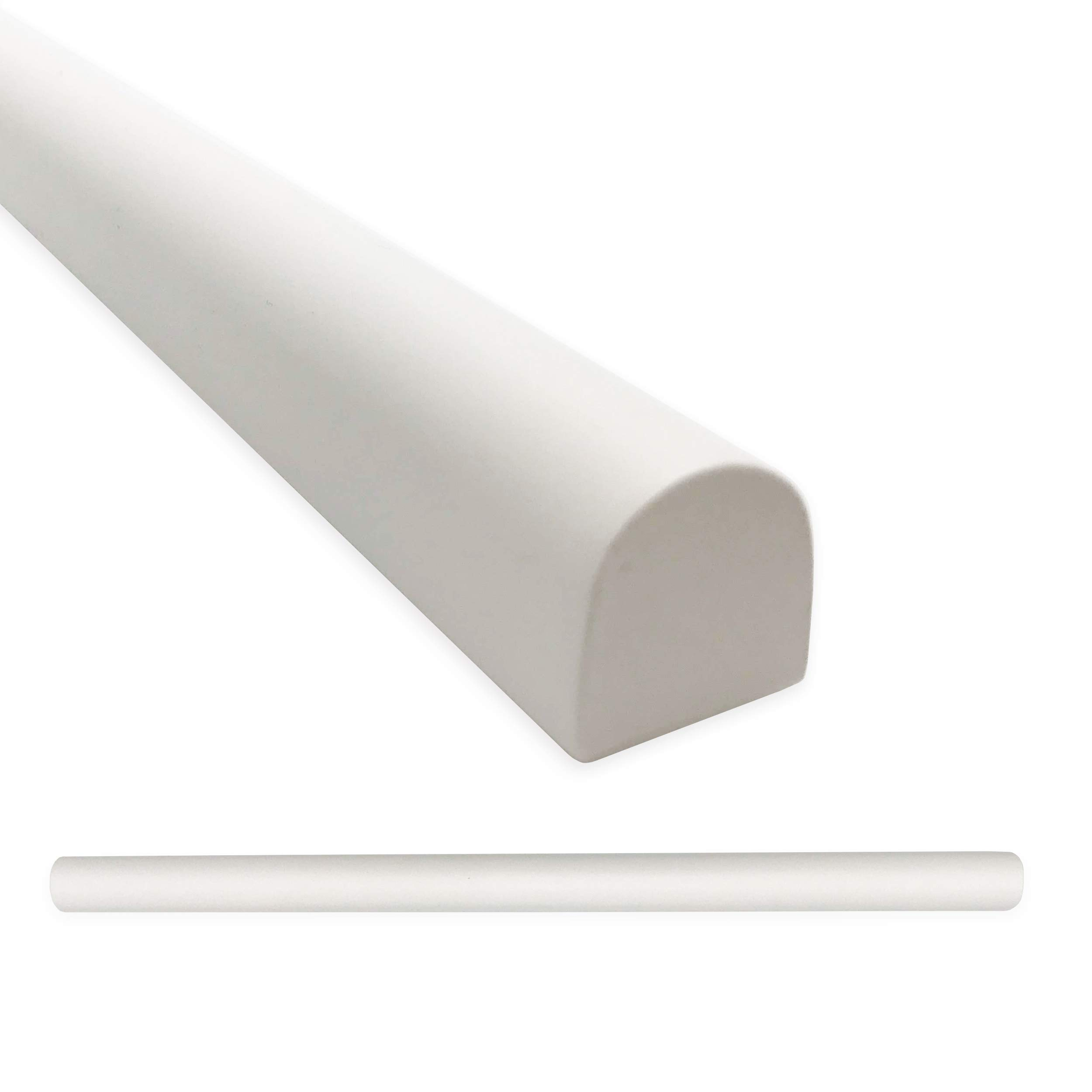 Bright White Soho Bullnose 3/4 X 12 inch Liner Trim 6 Pieces | Molding Tile for Kitchen Bathroom Ceramic Tile Finishing (6 Pack, Matte Bright White)