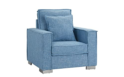 Living Room Large Linen Fabric Armchair, Living Room Accent Chair Light Blue