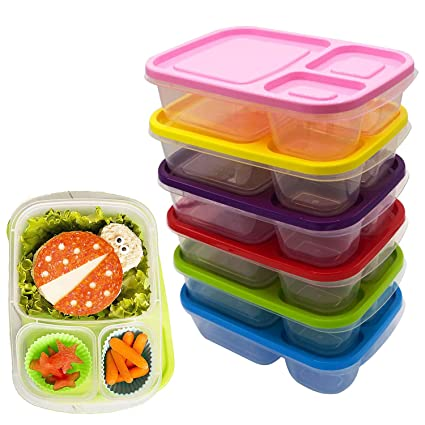 4b3e545bd96e Plastic Food Containers Kids Lunch Box Meal Snack Storage Bento Boxes for  School Office with Lid and 3 Compartment BPA Free, Freezer Fridge Microwave  ...