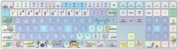 Silicone Keyboard Cover Skin for 2017/2018 Apple iMac Wireless Magic Keyboard with Numeric Keypad MQ052LL/A(Model: A1843), Cute Print, US Layout,Cute Cat