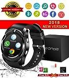 Smart Watch,Relojes Inteligentes Teléfonos Inteligentes Bluetooth Smart Watch Reloj Inteligente Hombre Mujer Niño Reloj Deportivo Reloj Camara Soporte SIM / TF para Android/IOS (Negro-V8)