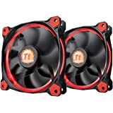 Thermaltake RIING 120mm Red LED Ultra Quiet High Airflow Computer Case Fan,  CL-F047-PL12RE-A , Pack of Two