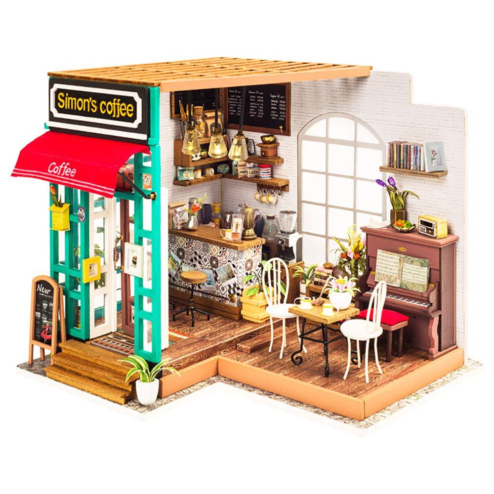 excelentes precios QPP-WJ Casa de muñecas Casa de Juguetes en en en Miniatura, Juego de muñecas de Madera DIY, Juguetes educativos para niños, Modelo arquitectónico 3D Time Cafe, Regalos creativos  producto de calidad