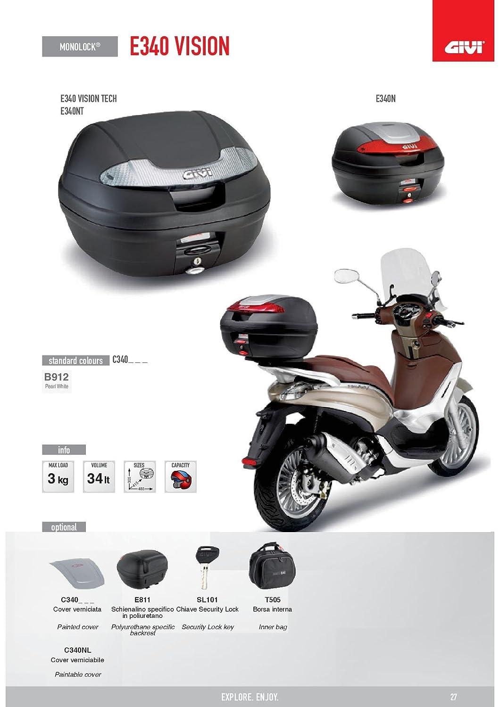 Noir uni Givi E340NT Vision Tech Monolock Topcase avec une Plaque