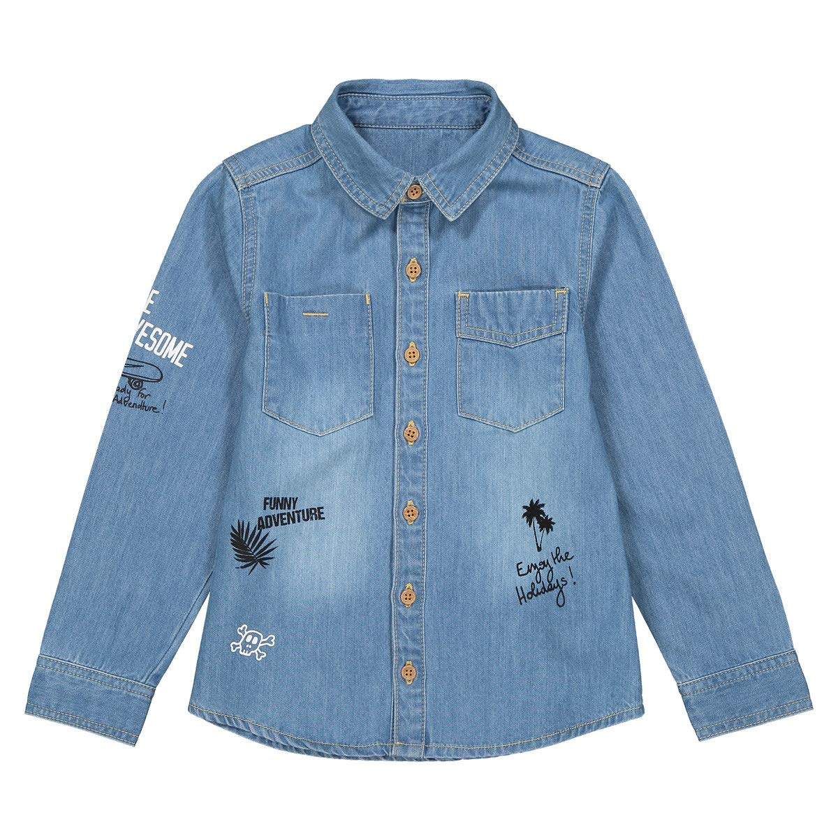 La Redoute Collections Denim Shirt, 3-12 Years Blue Size 3 Years (94 cm)