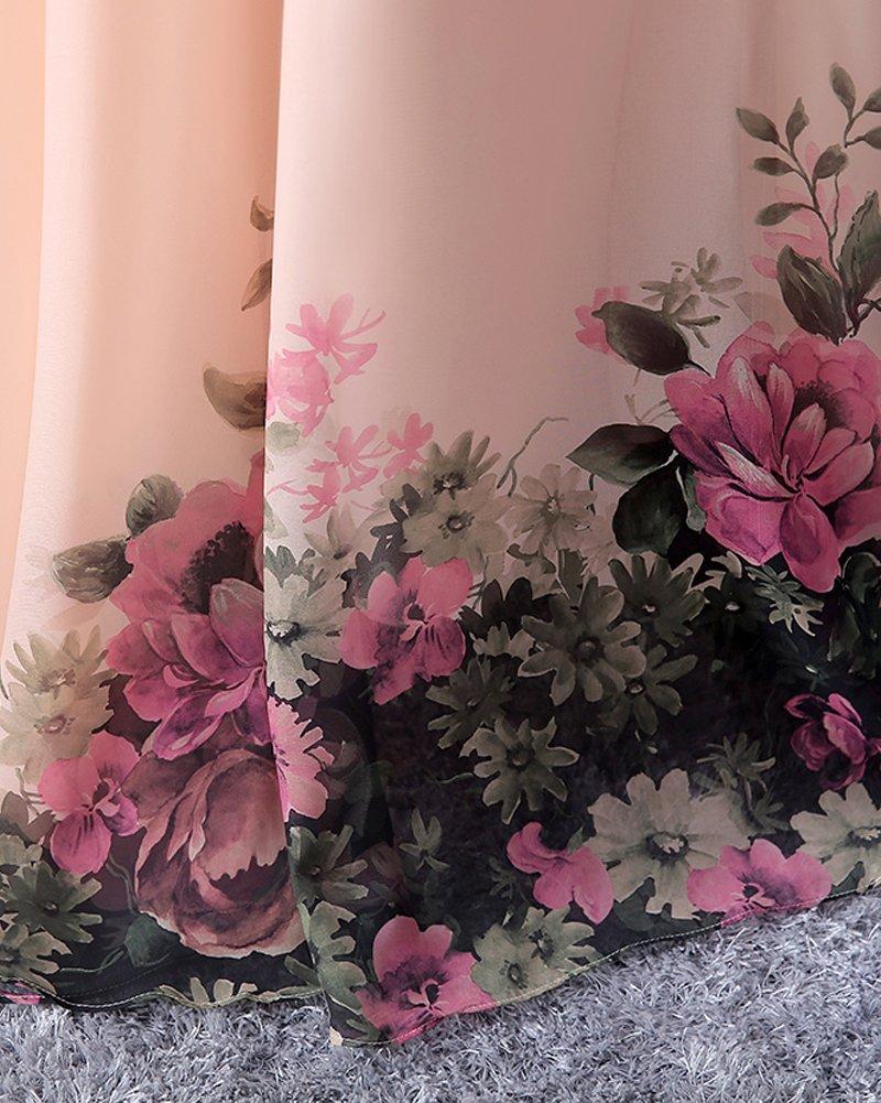 0ad9c4a77d7e YipGrace Donna Floreale Una Spalla Elegante Abiti Da Sera Lungo Pink S   Amazon.it  Sport e tempo libero