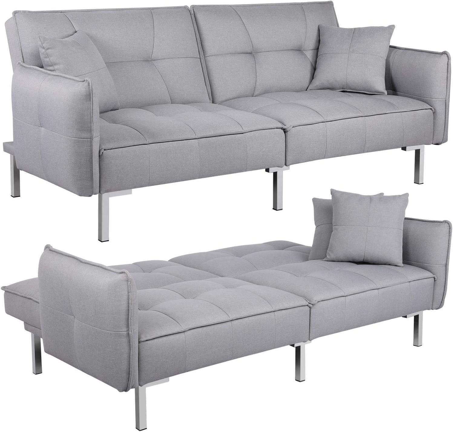 Yaheetech Fabric Sofa Bed 9 Seater Click Clack Sofa Couch Recliner Settee  for Living Room/Bedroom with Arms&9 Cushions Grey