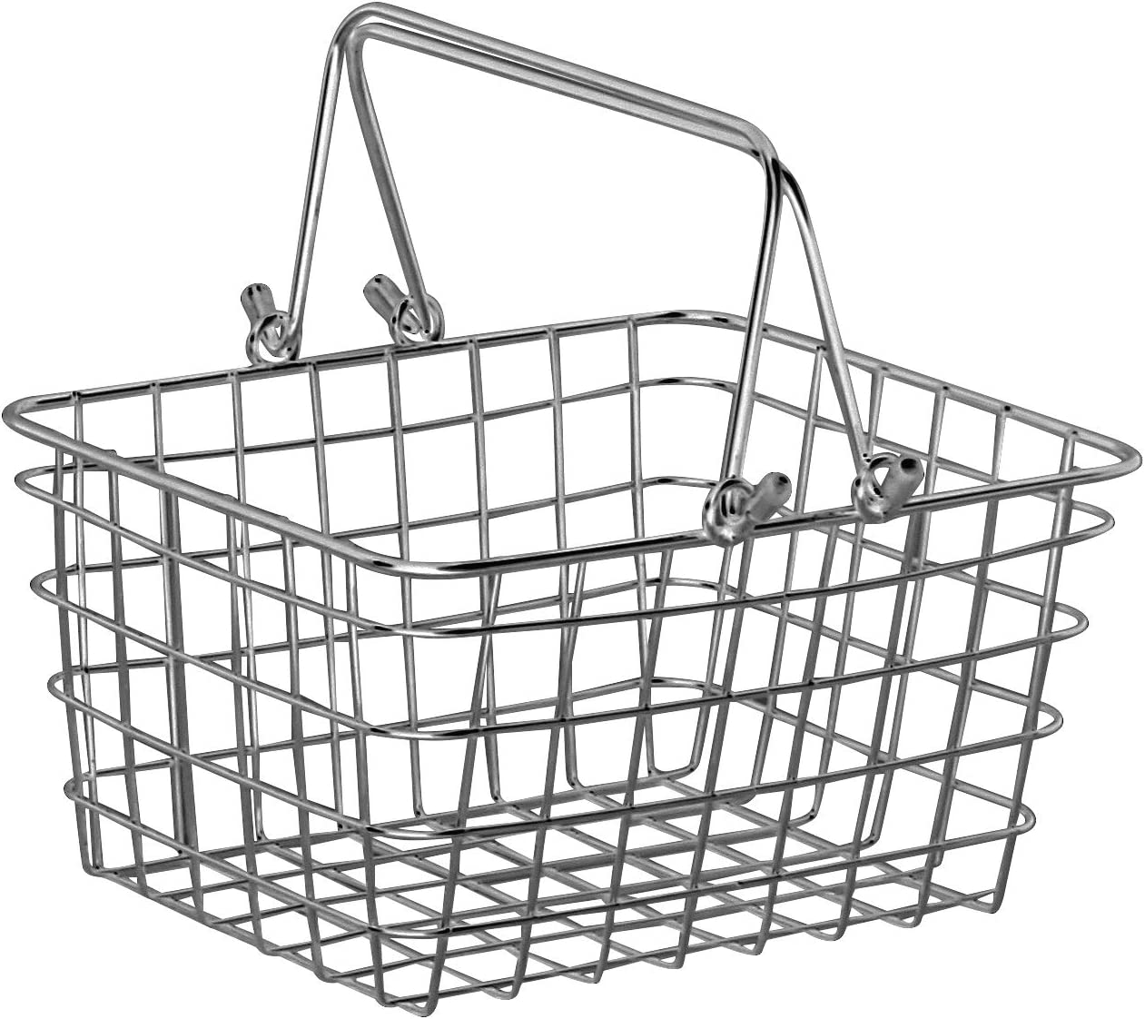 Spectrum Diversified Small Wire Storage Basket With Handles, Rustic Farmhouse Basket With Handles, Rust-Resistant Finish, Rustic-Style Tote Basket for Home Décor