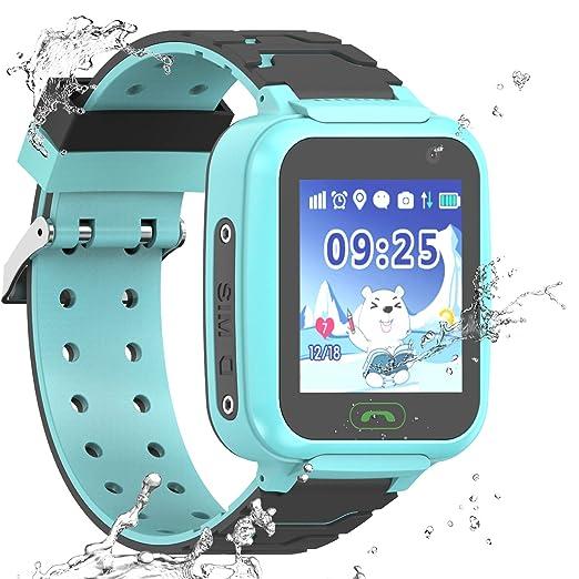 PTHTECHUS Reloj Inteligente a Prueba de Agua GPS Tracker para niños - Mire el Reloj Inteligente a Prueba de Agua con GPS LBS WiFi Localizador de ...
