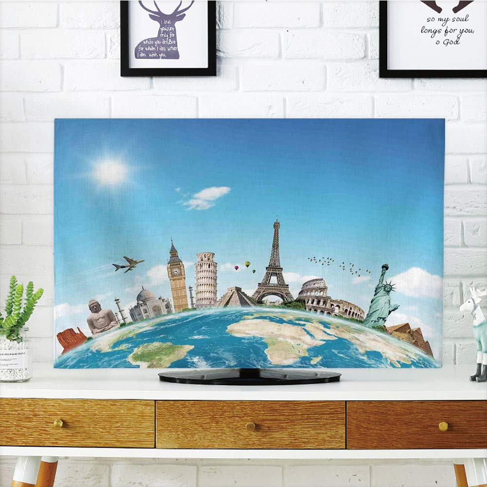 CANCAKA 液晶ディスプレイテレビカバー マルチスタイル 旅行装飾 晴れた夏のテラス バルコニーテラス マウンテンアイランドの風景 ブルーホワイトとグリーン カスタマイズ可能なデザイン 50インチ/52インチのテレビに対応 TV 32