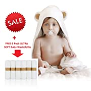 Mandoleen Soft Baby Bamboo Hooded Towel (Thick 680 GSM) + 6 Free Washcloths | Antibacterial and Hypoallergenic | Keeps Baby Dry and Warm | Sized for Infant and Toddler | Soft and Luxury