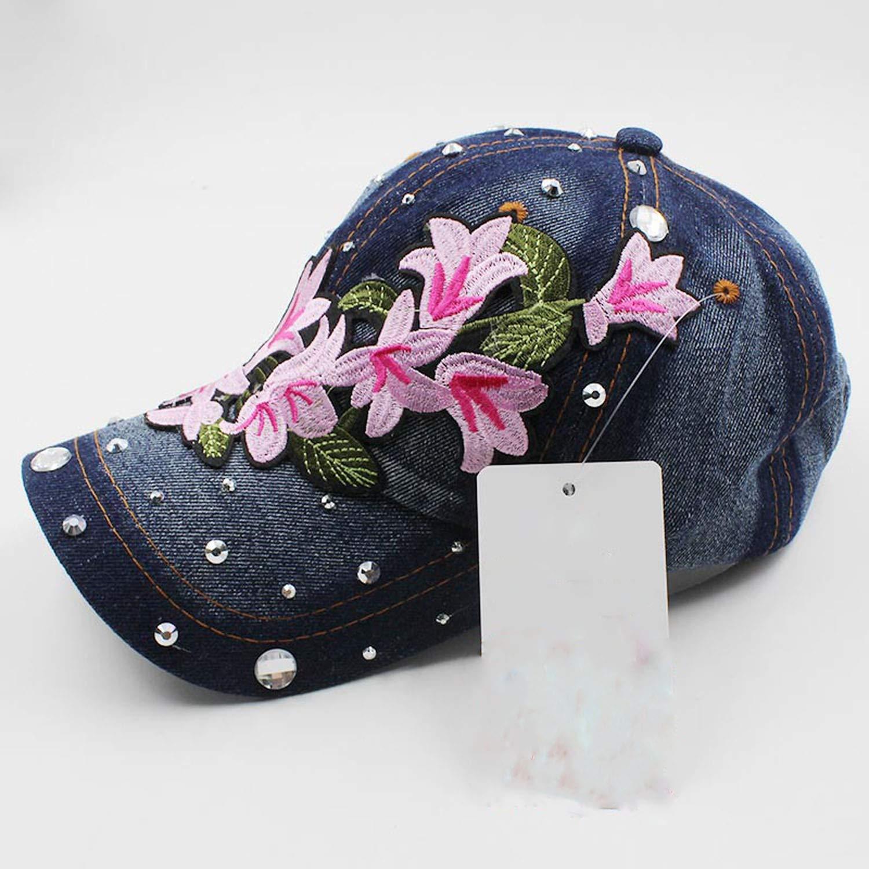 Rhinestones Denim Baseball Cap Spring Floral Cap Snapback Summer Cap for Girl Fitted Cap