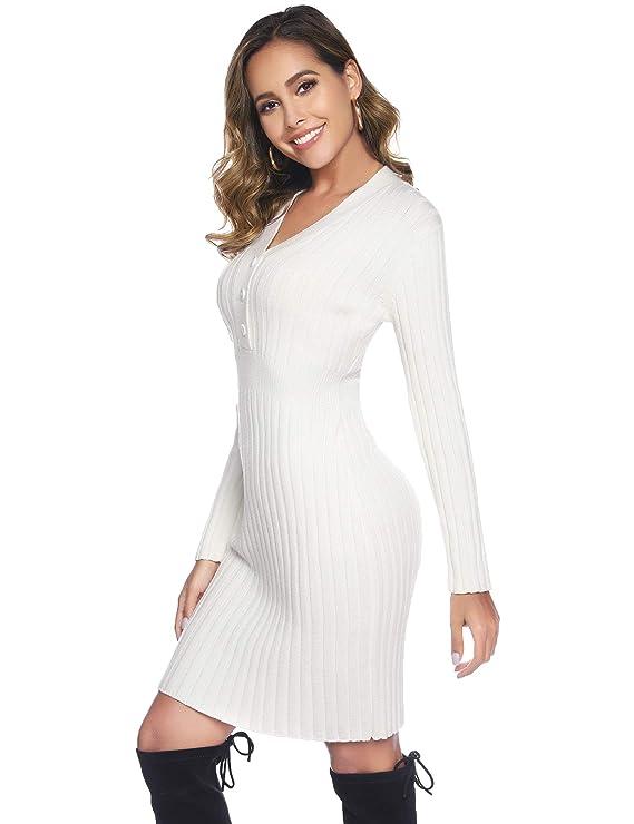 robe femme hiver blanche ( existe en d'autres couleurs ) manches longues et col V - Tendance mode femme hiver 2020