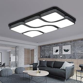 ETiME 65x43cm Design LED Deckenlampe Deckenleuchte Wohnzimmer Lampe  Schlafzimmer Küche Leuchte 6000K Schwarz Rechteck (64x43CM 45W Kaltweiß)