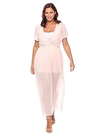 2fdbf16c2 Jolly Chic Solid V-neck Ruffles Maxi Dress For Women - Xxl, Pink ...