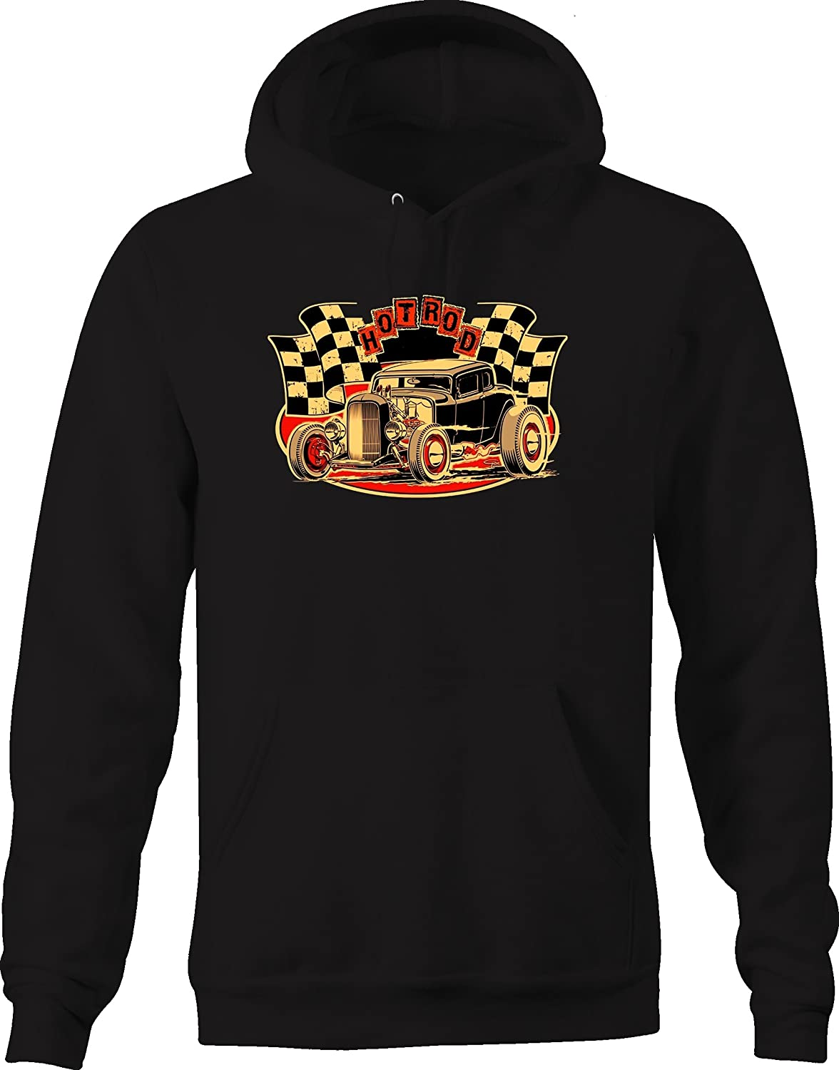 Hotrod Coupe Checkered Flag Ratrod Custom Graphic Hoodie for Men
