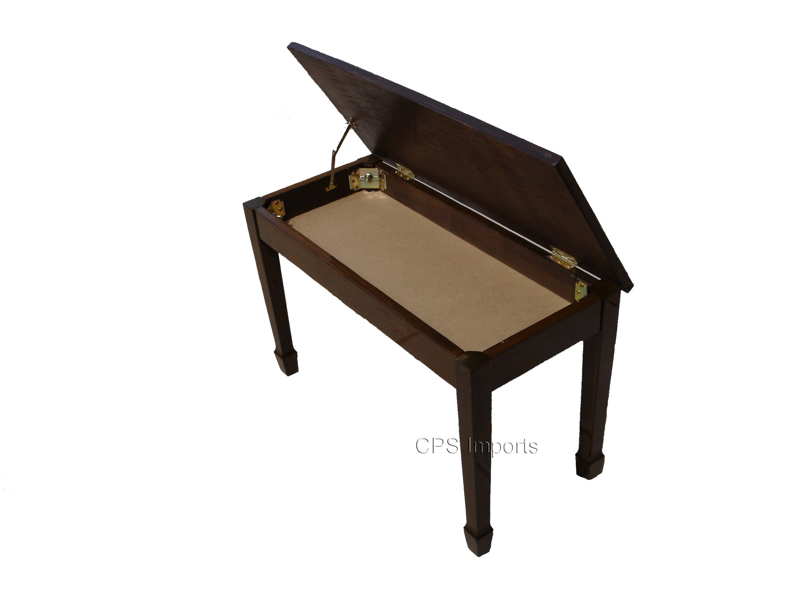 Walnut Wood Top Grand Piano Bench with Music Storage