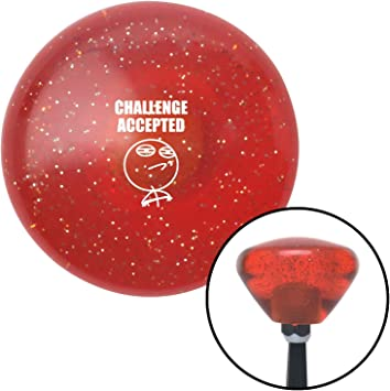 White Challenge Accepted Orange Retro Metal Flake with M16 x 1.5 Insert American Shifter 288196 Shift Knob
