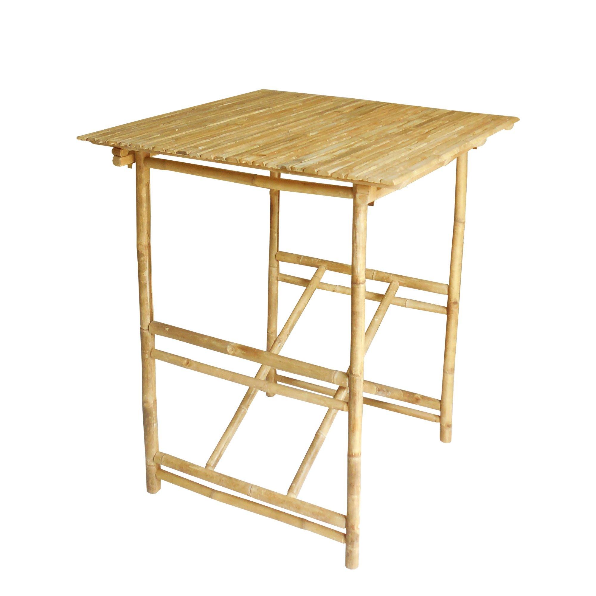 Zero Emission World Ta-264 Bamboo Kd Bar Table, Natural, 35.4X35.4X41.3