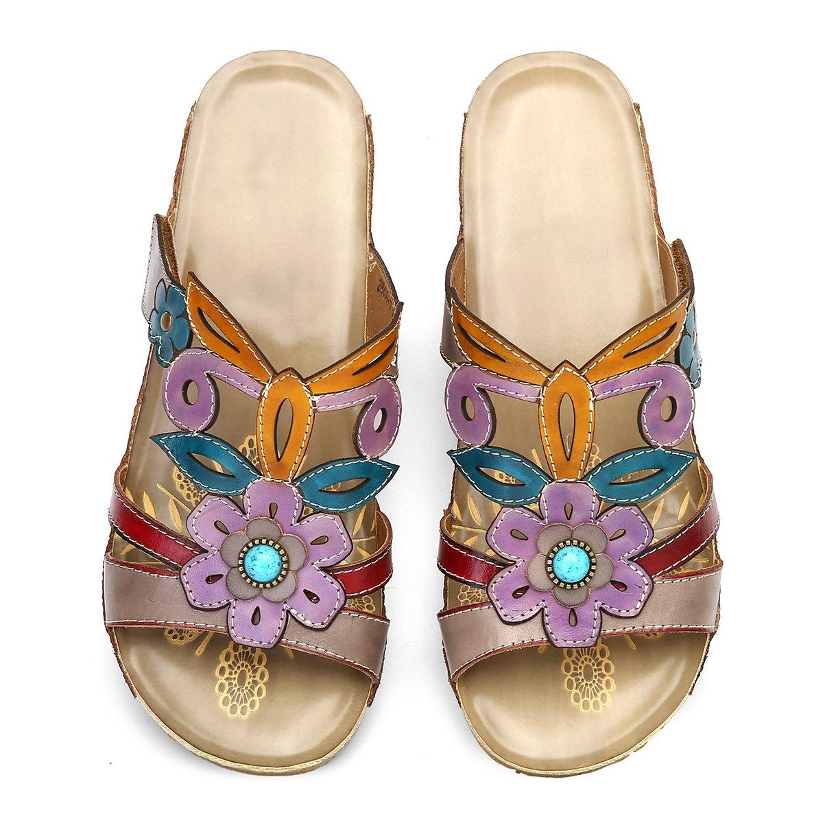 33ca47907cbadc Gracosy Mules Cuir Femmes, Chaussures Été Compensées Sandales Sabots à  Talons Plateformes Semelle Confortable Printemps Eté pour ...