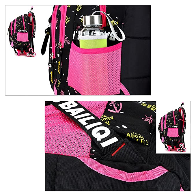 Amazon.com: GudeHome Girls Schoolbags with 2 Wheeled Trolley Hand Backpack Luggage Bags Kids Travelling Bags for Students Rose: Sports & Outdoors