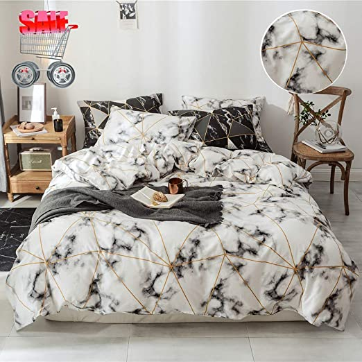 Marble Duvet Cover Queen Modern Gray White Marble Bedding Comforter Cover wit...