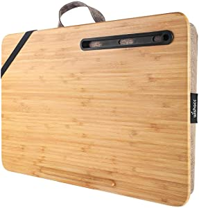 "wishacc Home Office Lap Desk Portable Bamboo Laptop Lap Desk Accessories (Fits up to 17.3"" Laptop)"