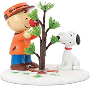 Department 56 Peanuts Charlie Brown & Snoopy The Perfect Tree Figurine | Hand-Crafted & Hand-Painted