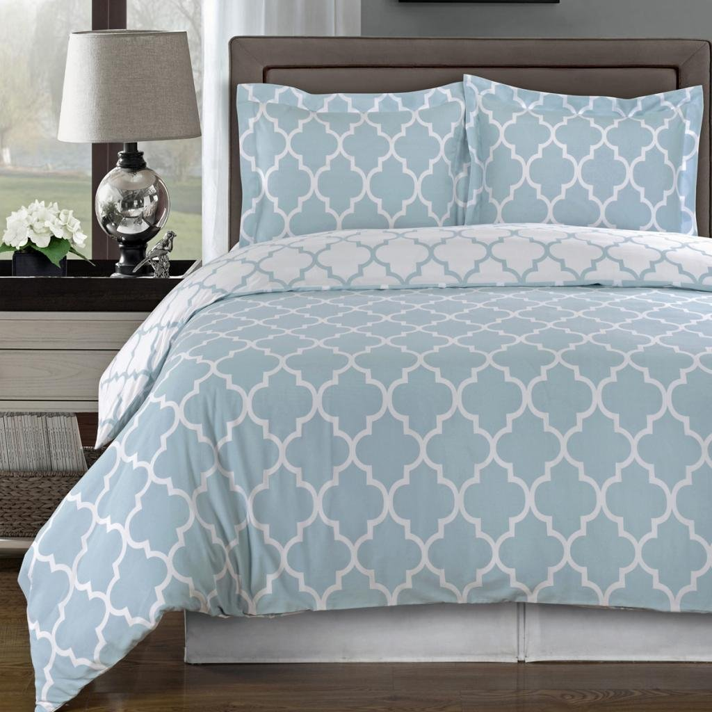 Egyptian Bedding Super Luxurious 100% Egyptian Cotton 8 Piece Meridian Blue QUEEN Size Duvet Cover Set with Pillow Shams. Also Includes White 4 Piece Sheet Set and Down Alternative Comforter Egyptian Bedding®