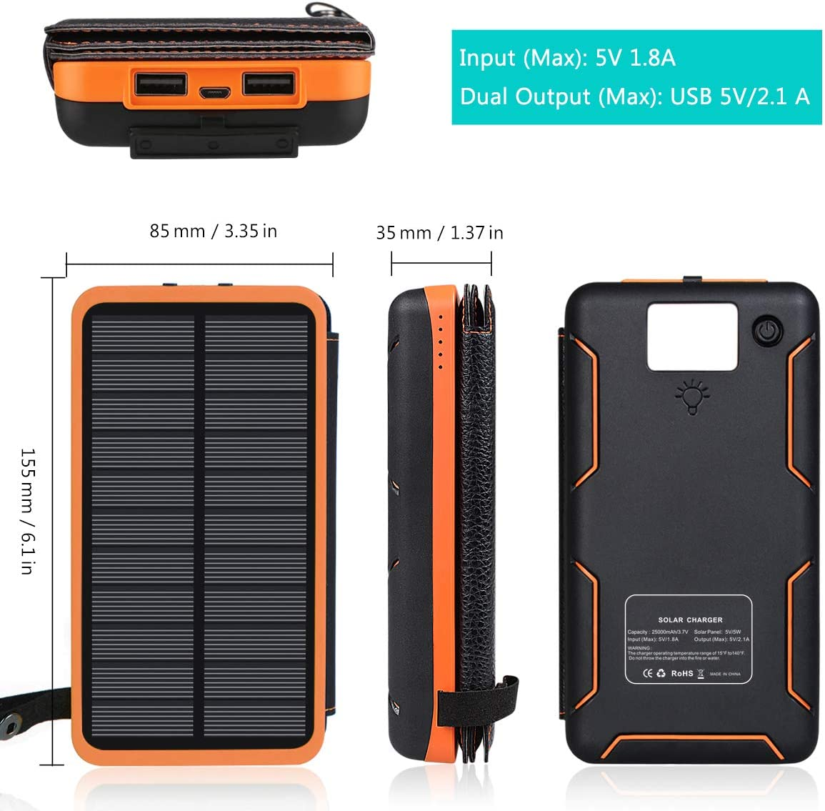 ADDTOP Solar Charger 25000mAh Portable Solar Power Bank with Dual 2.1A Outputs Outdoor External Battery Pack Compatible Most Smart Phones, Tablets and More