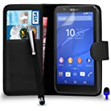 Sony Xperia E4 Premium Leather BLACK Wallet Flip Case Cover Pouch with Big Touch Stylus Pen BLUE Dust Stopper Screen Protector & Polishing Cloth BY SHUKAN®, (WALLET BLACK)