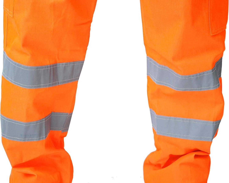 carretera pantalones ferrocarril Pantalones con estilo de alta visibilidad para trabajo de carga