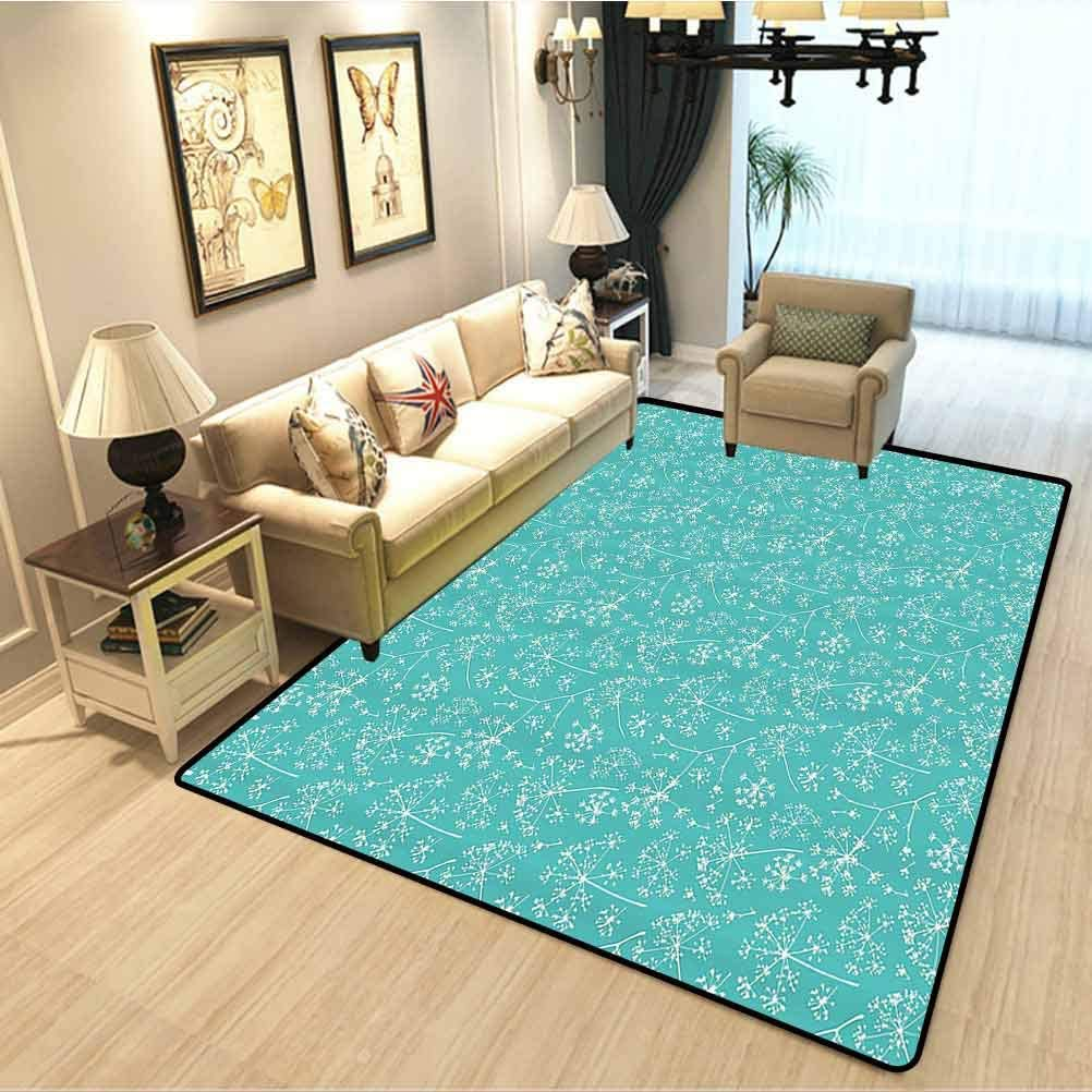 Turquoise Decor Collection Baby Play Mat Delicate Umbrellas Parsley Dill Blossom Wildflower Summertime Plants Pattern Modern Rugs For Bedroom Living Room Kids Tiffany Blue White W5xl6 Feet Kitchen Dining