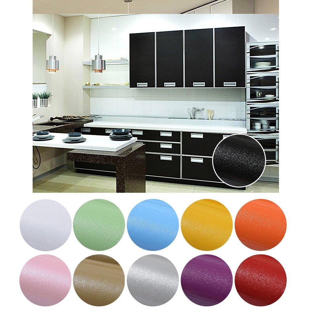 KINLO® Folie Küche Schwarz 61x500cm aus hochwertigem PVC Aufkleber ...