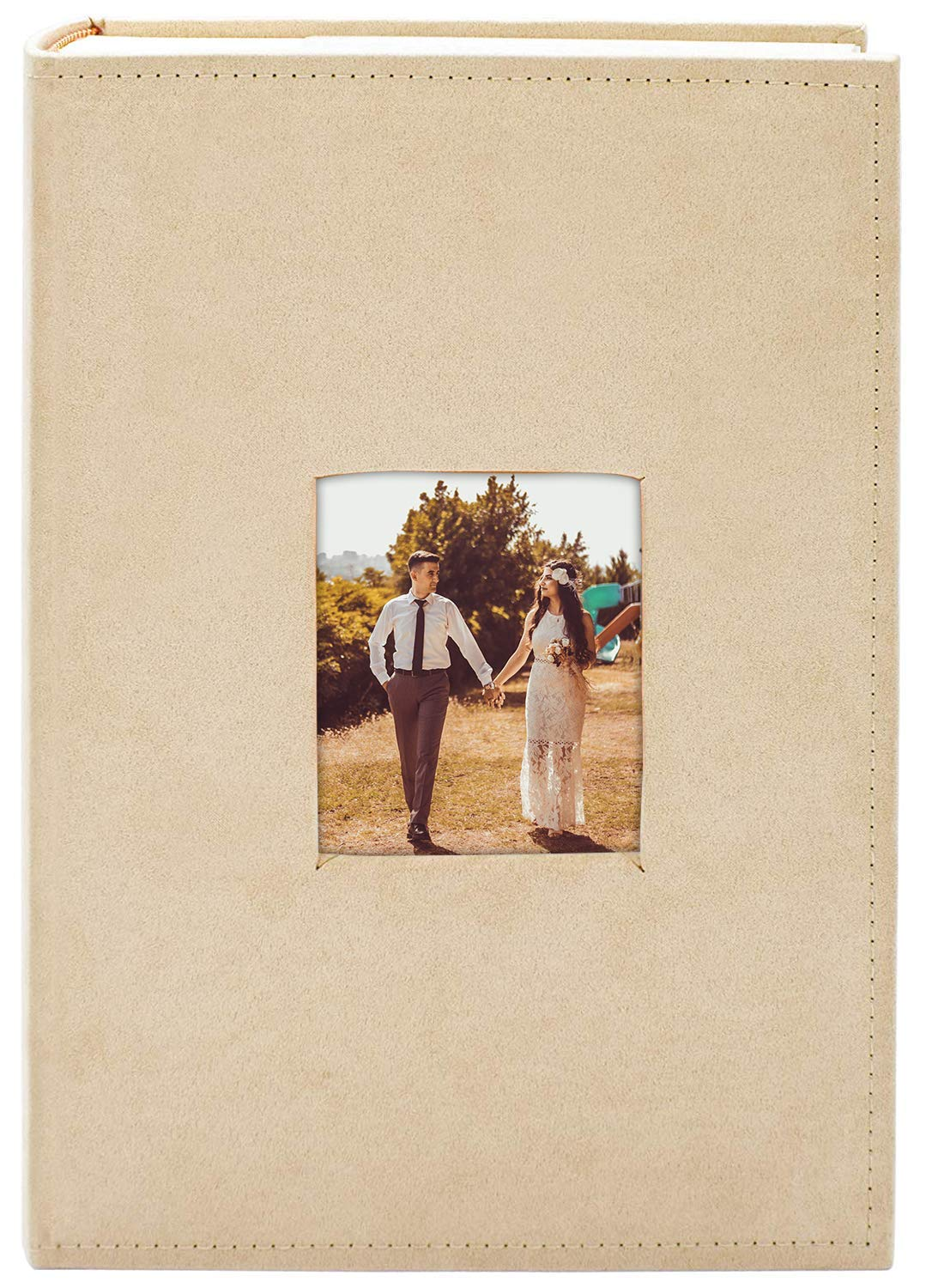 Golden State Art Photo Album, Holds 300 4''x6'' Pictures, 3 per Page, Suede Cover, Beige by Golden State Art
