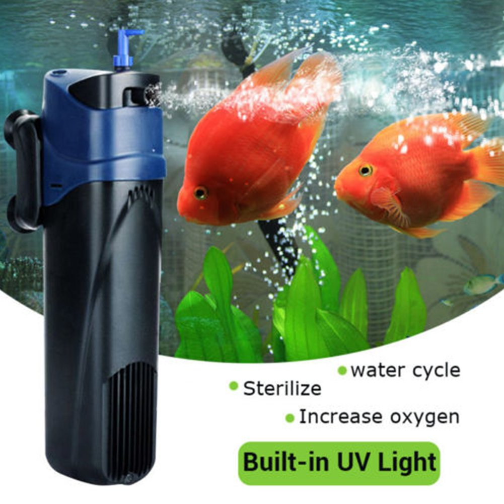 INLAR Fish Tank Filter,Aquarium Air Pump, UV Sterilizer Oxygen Pump Submersible Pump Filter Water Cycle for Aquarium Fountain Pond Fish Tank Water Feature ...