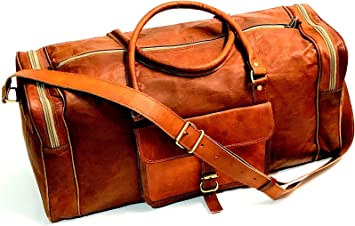"20/"" Vintage Genuine Brown Leather Duffel Gym Sports Bag Travel Luggage Handmade"