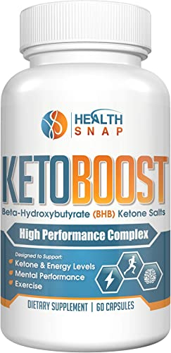 Keto Boost Exogenous Beta-Hydroxybutyrate BHB Ketones Salts Maximizes Energy Levels for Peak Fat Burning Weight Loss and Mental Performance 60 Capsules – Free Keto eBook Included