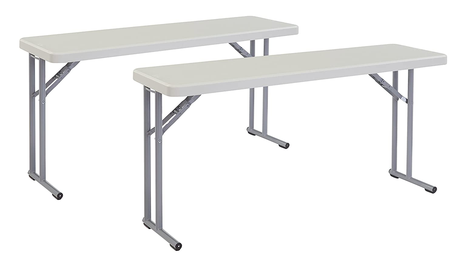 """(2 Pack) National Public Seating 18"""" x 60"""" Heavy Duty Seminar Folding Table, Speckled Grey"""