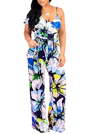 922a42e66e2 Amazon.com  Ermonn Womens Wide Leg Jumpsuits Sexy Floral Print Halter V Neck  High Waist Jumpsuit Rompers  Clothing