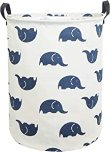CLOCOR Large Storage Basket,Canvas Fabric Waterproof Storage Bin Collapsible Laundry Hamper for Home,Kids,Toy Organizer (Blue Elephants)