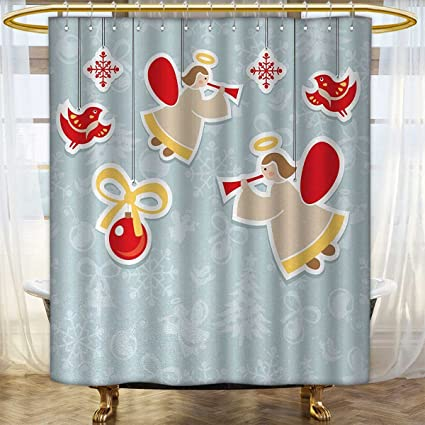 Angel Shower Curtains Mildew Resistant Fairy Playing Trumpet Halo Spiritual Wings With Xmas Birds Balls Celebration