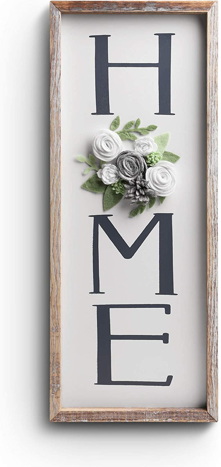 Hanging HOME Decor Signs - BeSuerte Rustic gallerywalldecor with Felt Flower For O, Farmhouse Decorative Floral Wall Art Plaque, Rustic Brown