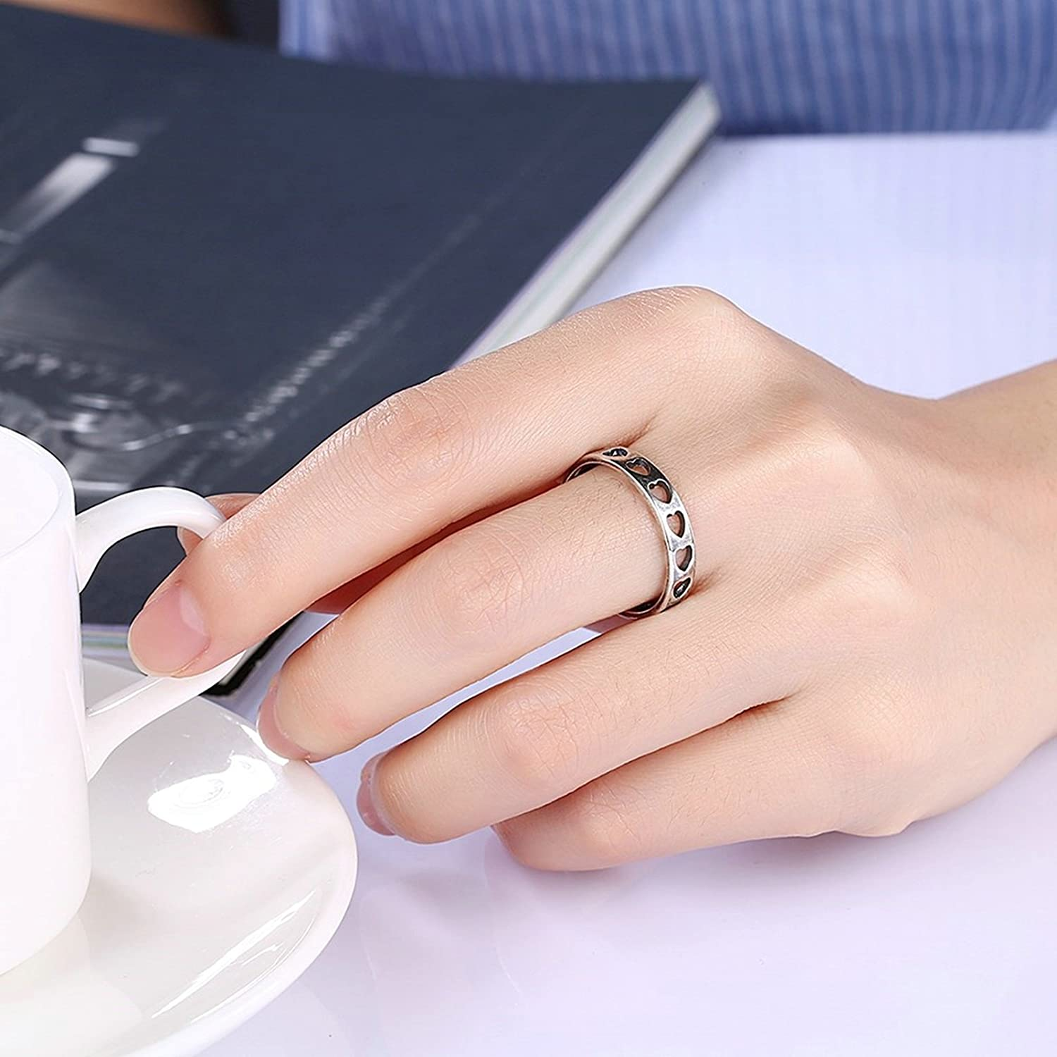 Amazon.com: Adisaer Women Rings Silver Plated 5MM Hallow Daily Wear ...