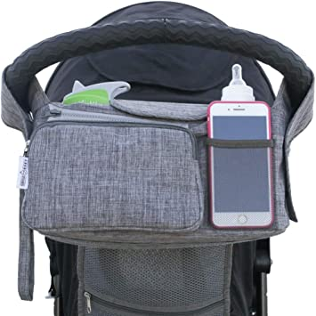 Wipes Universal Stroller Organizer Bag with 2 Cup Holders for All Strollers Toys Secured Fit Grey Adjustable Straps /& Zipper Pocket for Cell Phone Extra-Large Storage Space for Diapers Food